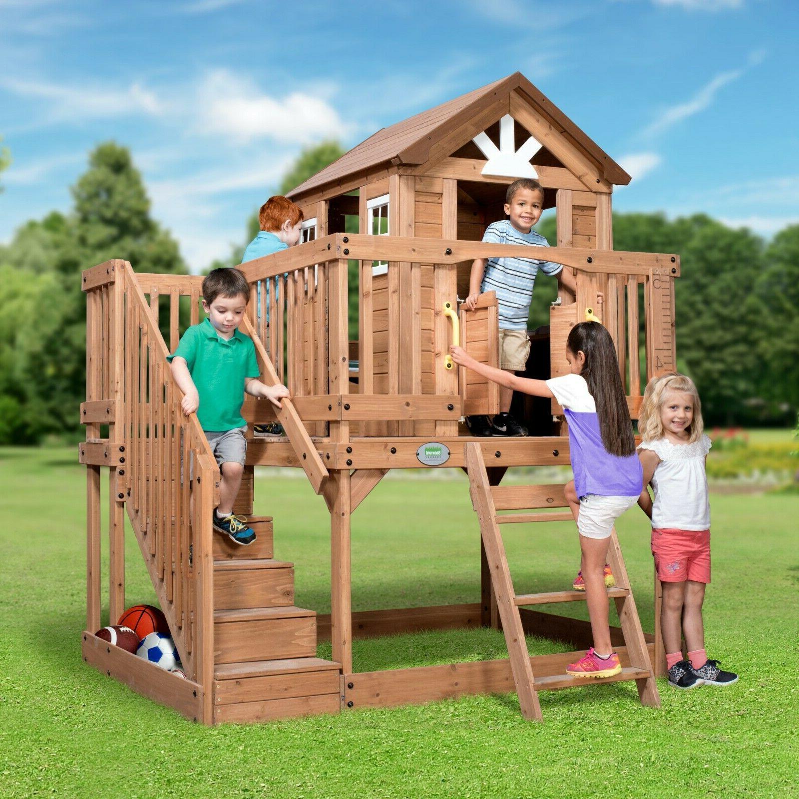 Outdoor Kids Cedar Playhouse w/ Stairs Backyard BIG Cottage