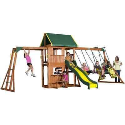 Backyard Discovery Playground All Cedar Kids Slide Playset