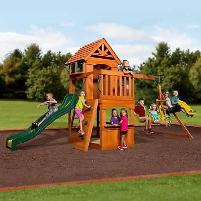 outdoor playground kids swing set slide playset