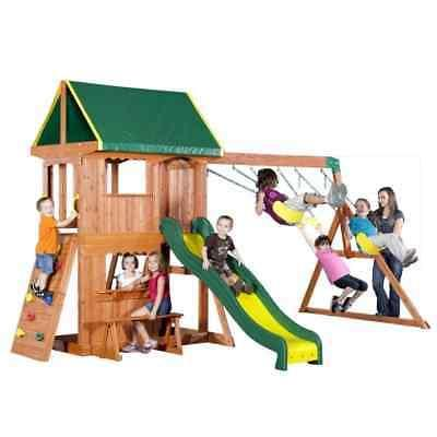 Backyard Outdoor Swing Kids Slide Playset Wooden