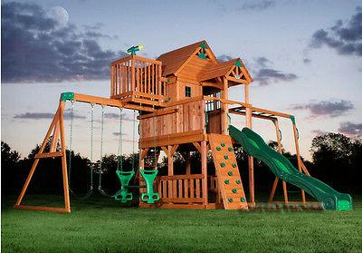 outdoor wooden swing set toy playhouse playset