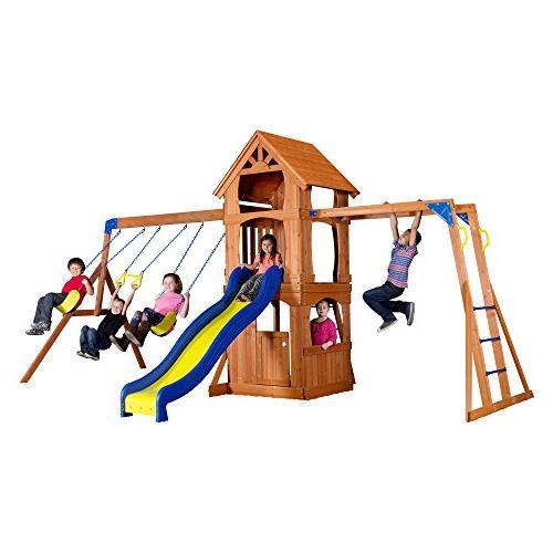 parkway cedar wood playset swing