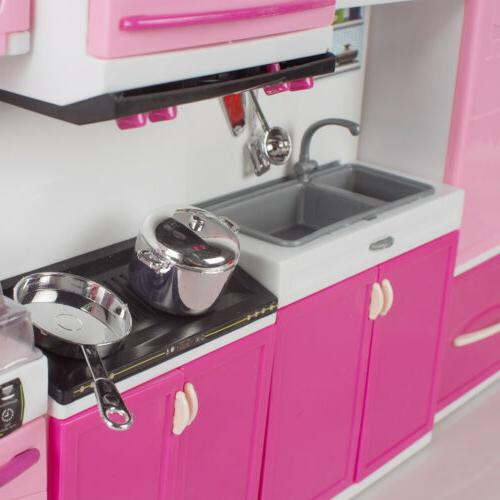 pink plastic Kitchen Kids Cooking Pretend Play Set