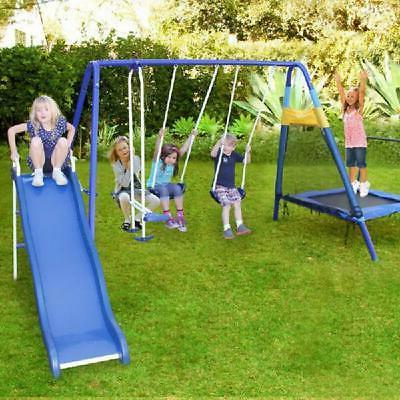 Playground Metal Set Outdoor Slide Backyard Kids Playset