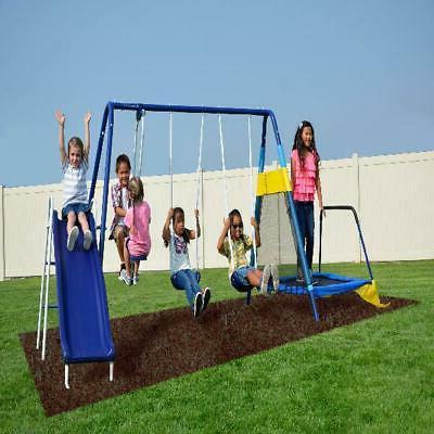 playground trampoline metal swing set outdoor slide