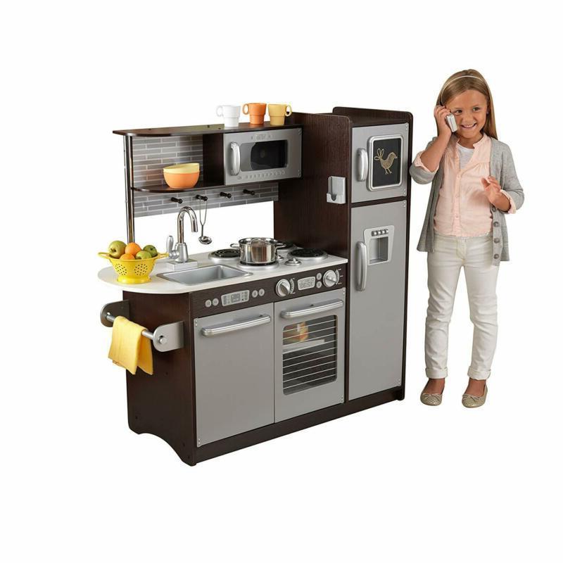 Pretend Kitchen 30 Piece Refrigerator Kids Oven Learning