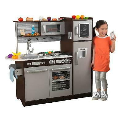 KidKraft Uptown Espresso Play Kitchen with 30 Piece Play Foo