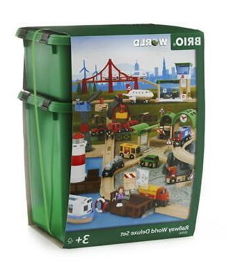 Railway World Deluxe Set, 106 Pieces - BRIO Free Shipping!