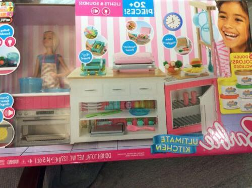 reduced barbie ultimate kitchen 20 pieces lights