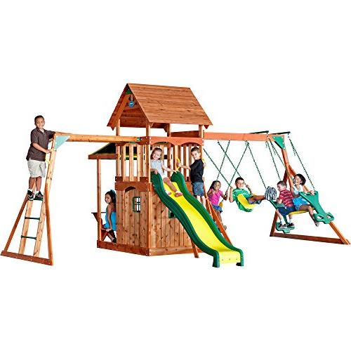 saratoga cedar wood playset swing