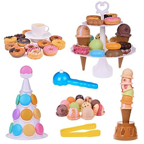Fun Stacking and Desserts Tower-54Pcs Kids Balancing Game,Birthday Favors