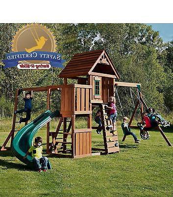 Swing-N-Slide PB 8272 Brook with Two Swings, Slide, Monkey Bars,