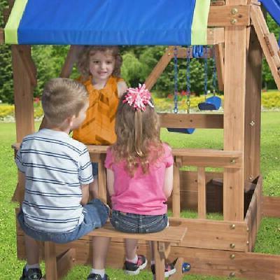 Swing Backyard Jungle Wooden Slide Kids Outdoor Play