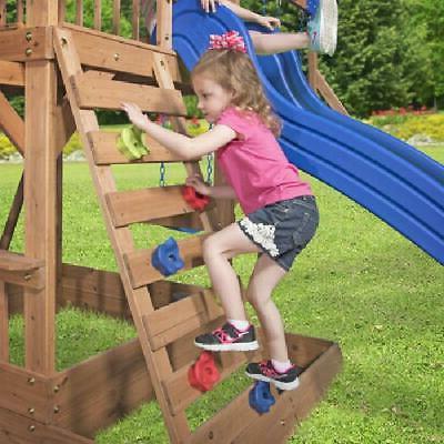 Swing Backyard Jungle Wooden Slide Kids Play