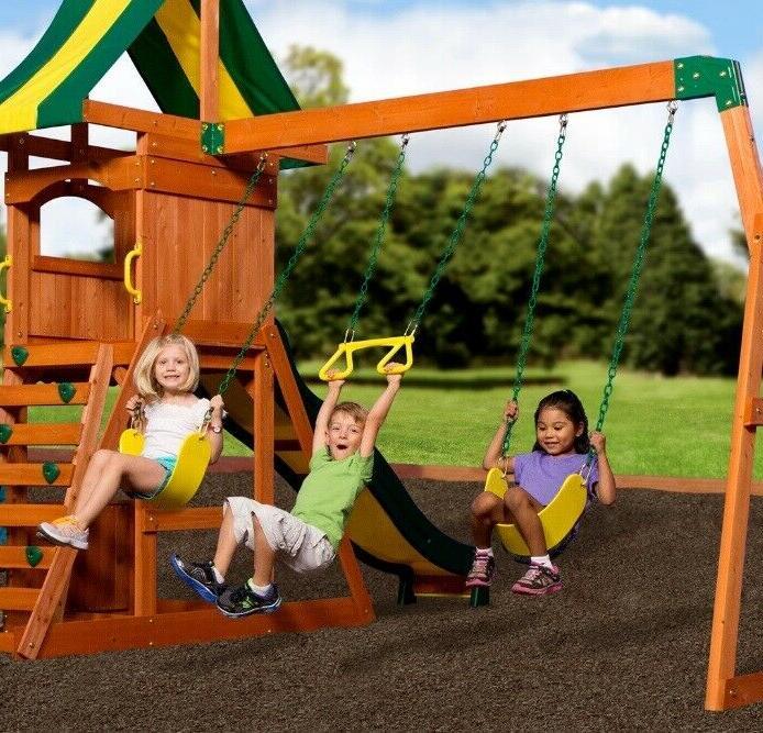 Backyard Weston Cedar Wooden Slide Outdoor Playground Playset Kids