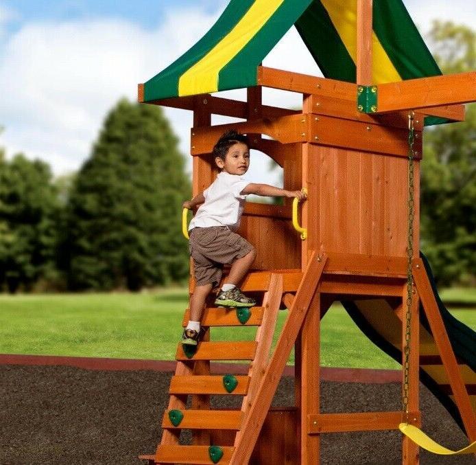 Backyard Swing Weston Cedar Slide Playground Playset Kids