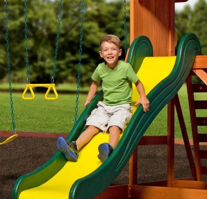 Backyard Swing Cedar Slide Playground Playset Kids