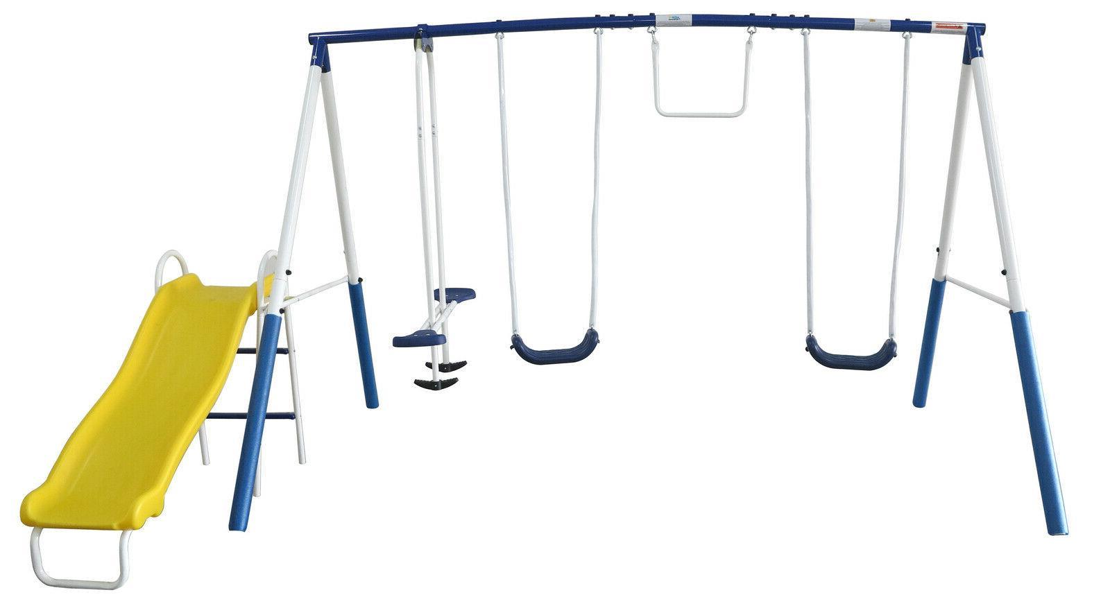 Swing Set Metal Playground Play Outdoor Wave Slide