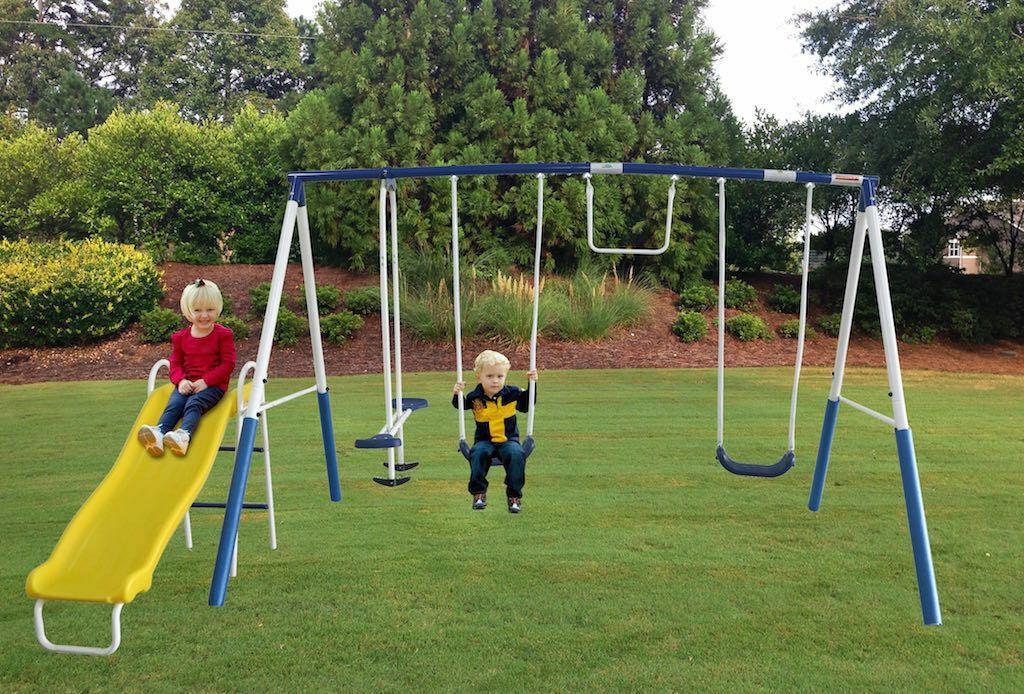 swing set metal swingset metal playground play