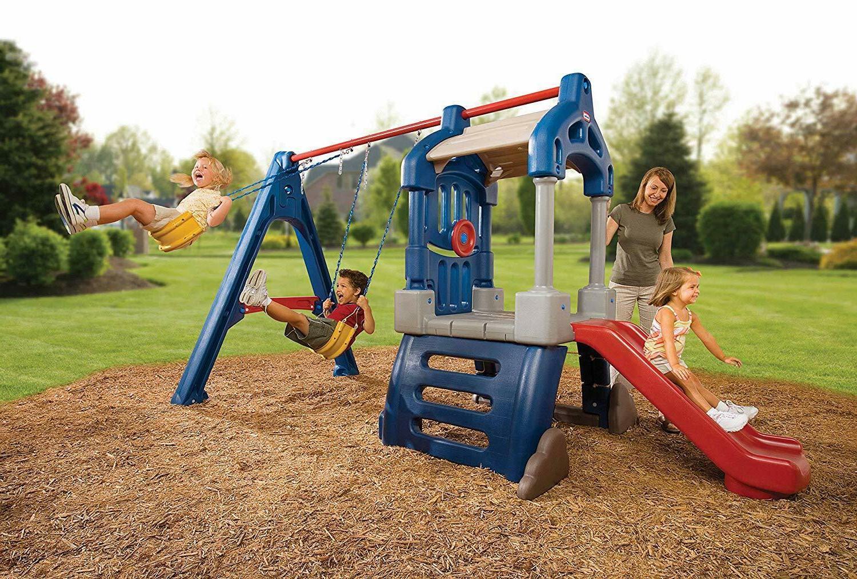swing set plastic slide toddler play preschool