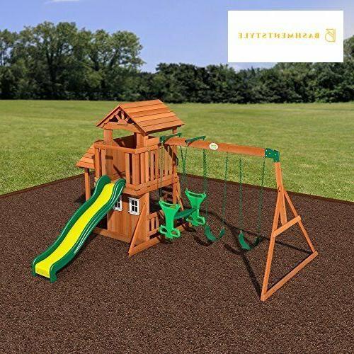 Backyard Tanglewood Cedar Wood Playset Set