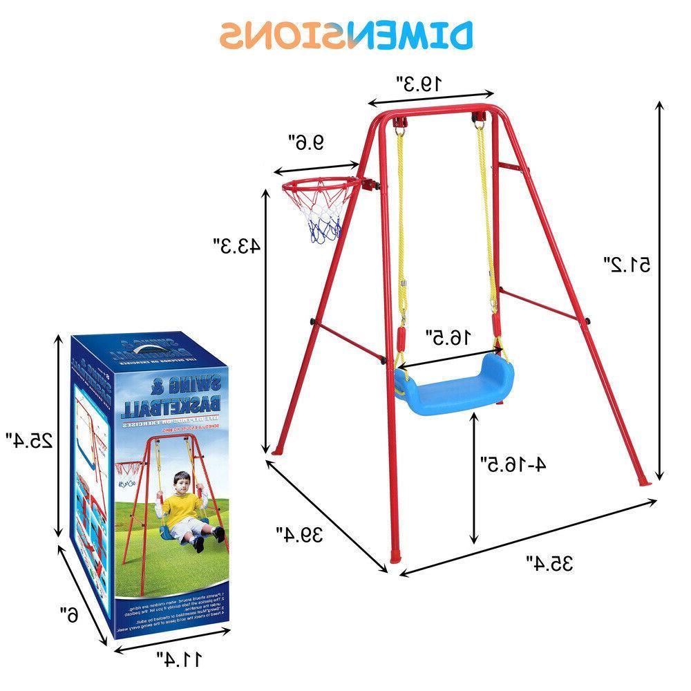 Toddler Swing Playset 2 in 1 Basketball Swing Set