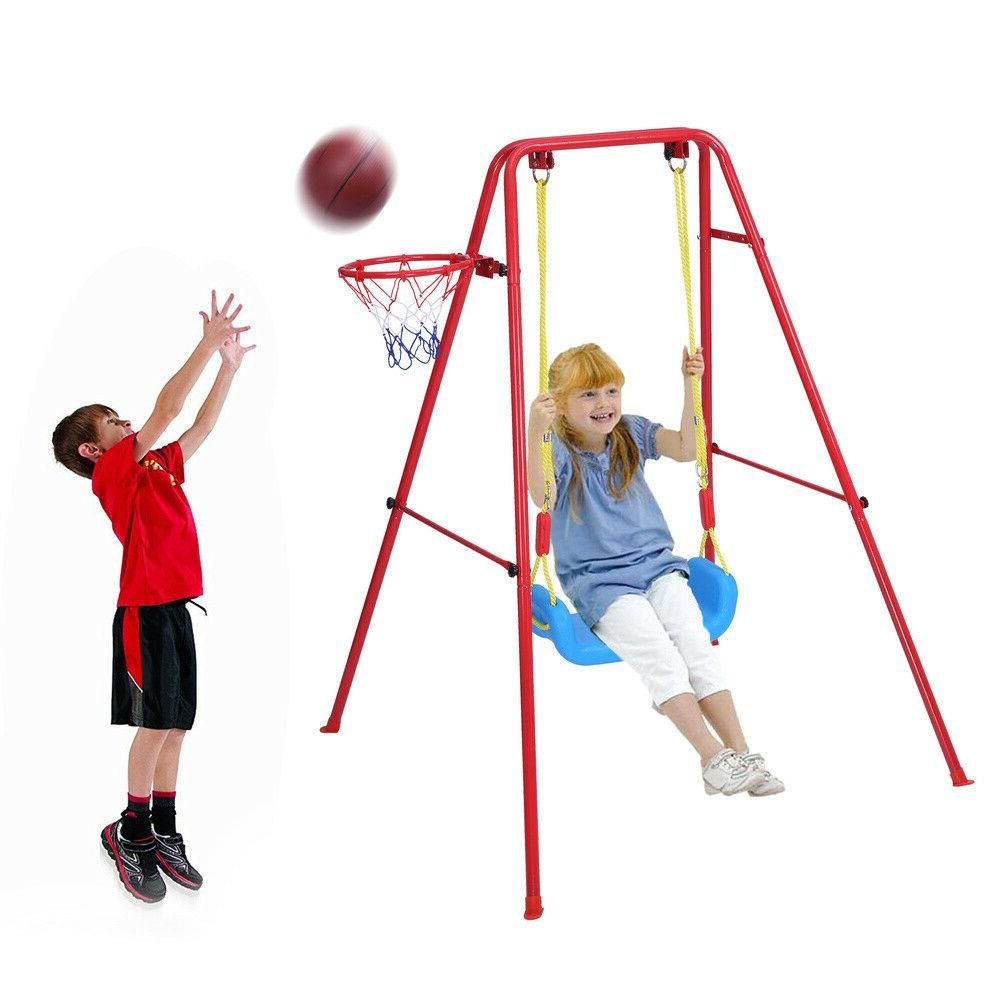Toddler 2 in 1 Swing Basketball Toys Set