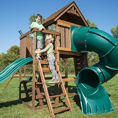 Swing-N-Slide Tower Set with Two Table, Wall