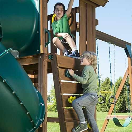 Swing-N-Slide Tremont Set with Two Two Swings, Glider, Picnic Table, and Wall