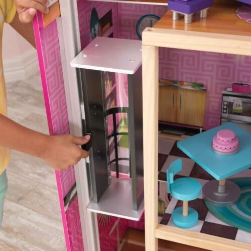 Uptown Wooden Dollhouse House Kids Girls Play Set 35 Of Furniture