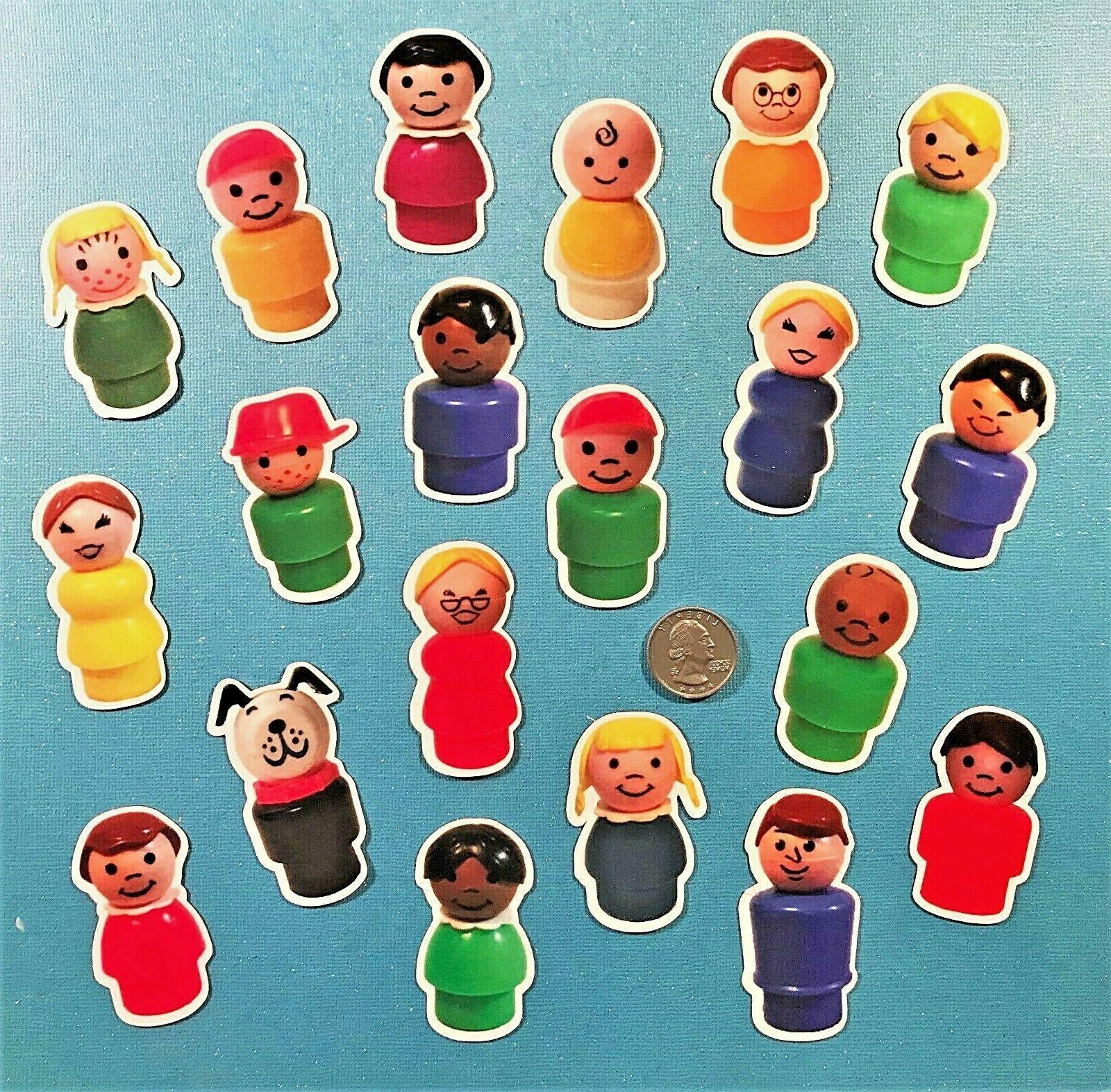 vintage little people figures magnets set fridge