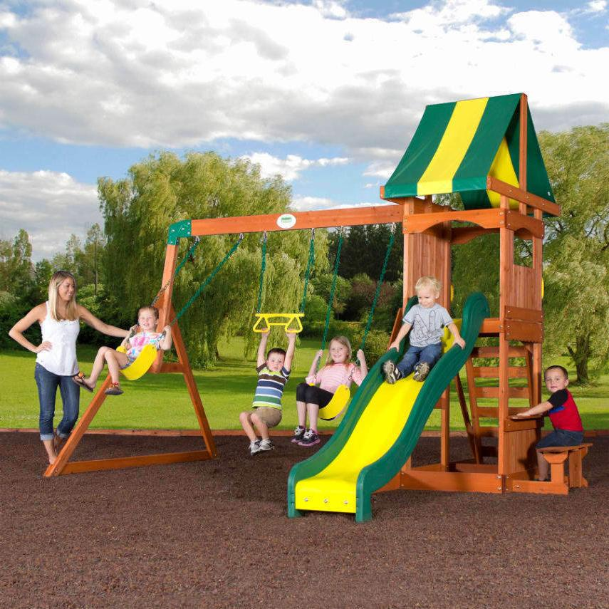 weston cedar swing set playground outdoor slide