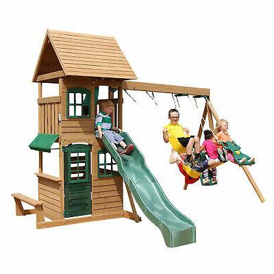 windale wooden cedar swing set outdoor playground
