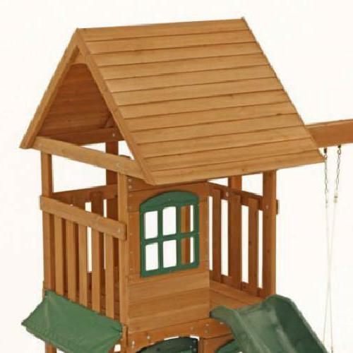 Big Backyard Wooden Cedar Playground Slide