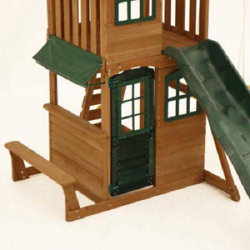 Big Backyard Cedar Playground Slide Playset