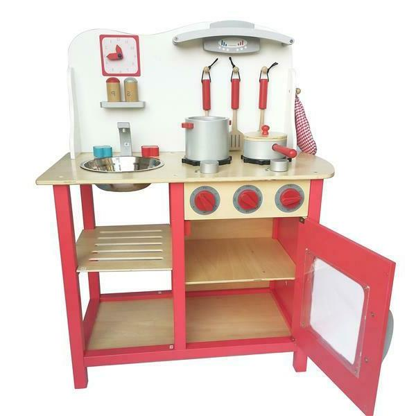 wood kitchen toy cooking pretend play set
