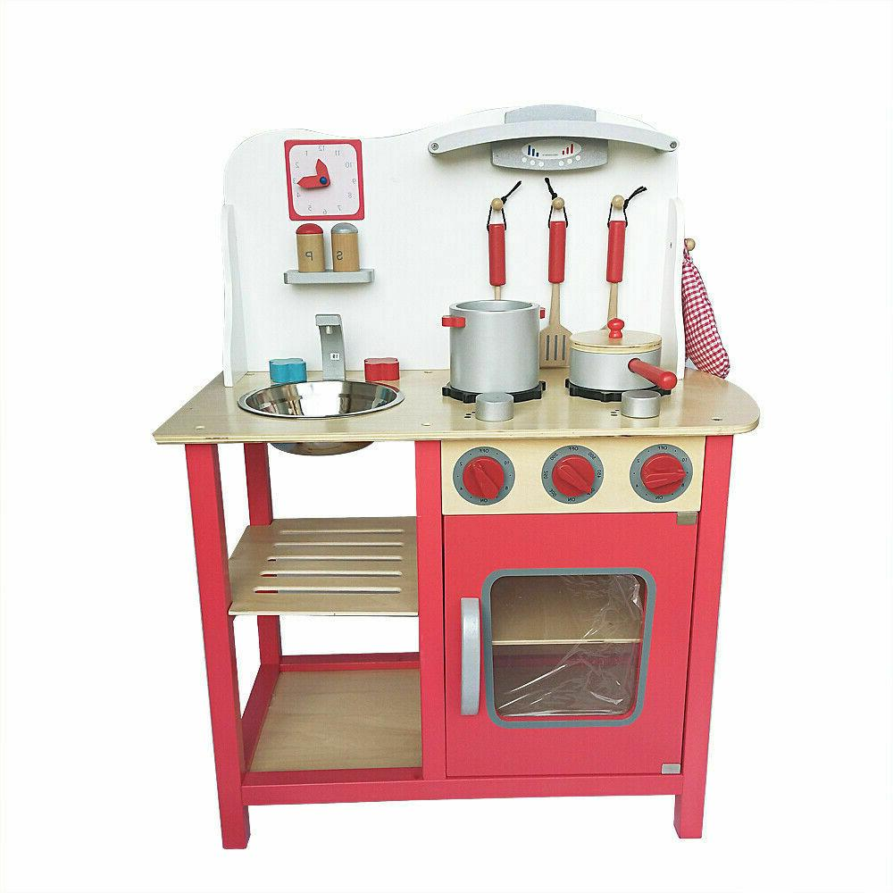 Wood Toy Cooking Pretend Wooden Playset Gifts