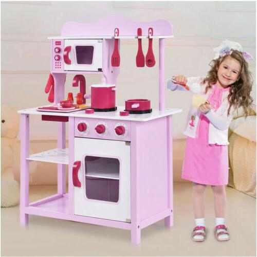 Wood Kitchen Cooking Pretend Play Set Toddler Wooden Playset