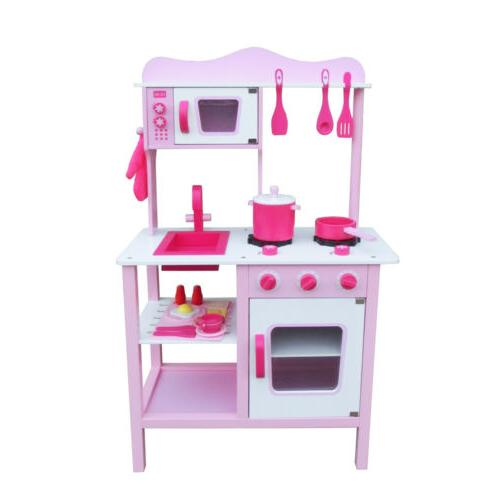 wood kitchen toy kids cooking pretend play