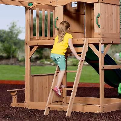 Backyard Wood Outdoor Playground Kids Playset Swing Set Slide Green