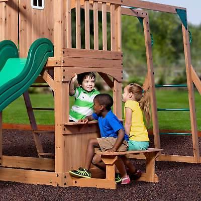 Backyard Discovery Wood Outdoor Playground Kids Playset Swing Set Green