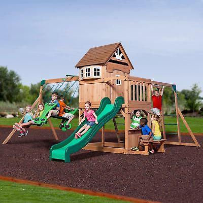 wood outdoor playground kids playset swing set