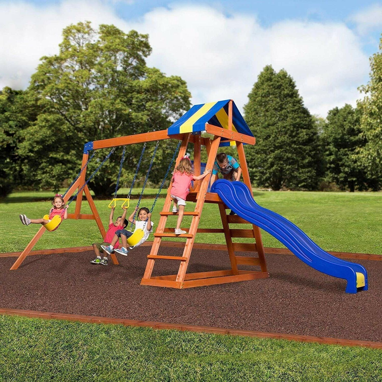 Wood Swing Set Kids Backyard Discovery Playground Slide