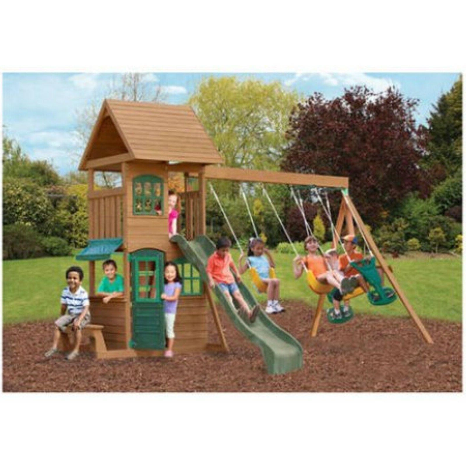 wooden cedar swing play set outdoor backyard