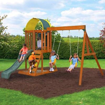 wooden cedar swing play set outdoor backyard