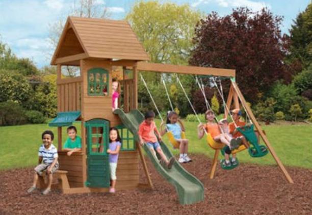 Wooden Play Set Cedar Backyard Swing Sets For Kids Big Clubh