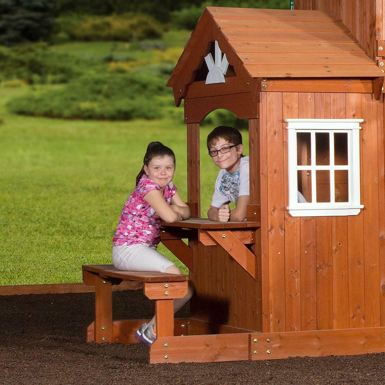 Wooden Swing Backyard Cedar Big Large Play House Swing Slide