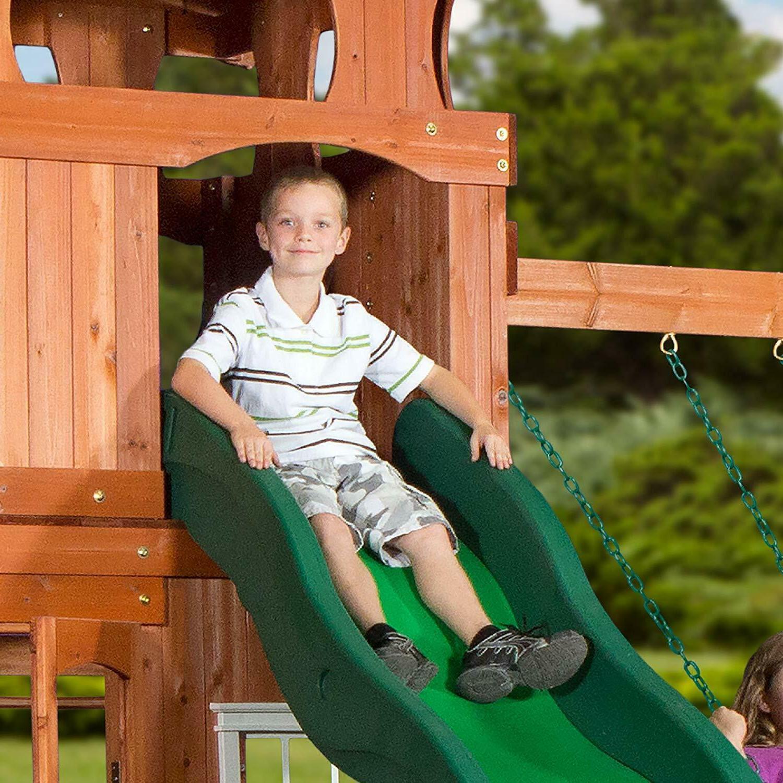 Wooden Swing Backyard Cedar Wood Large Slide
