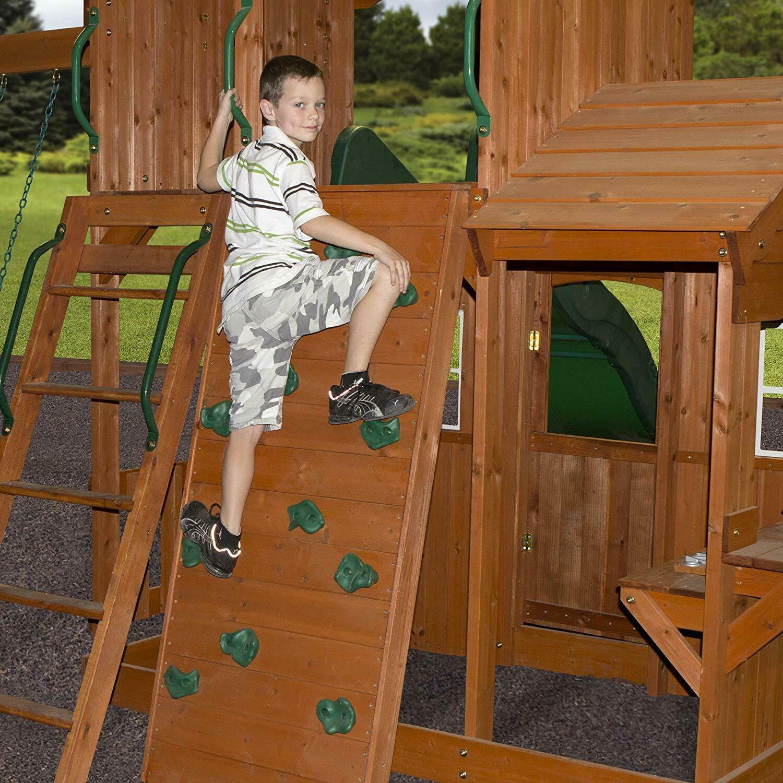 Wooden Swing Set Cedar Wood Large Play Slide