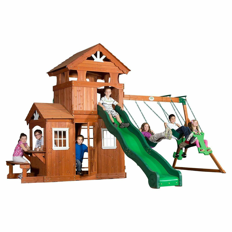 wooden swing set backyard cedar wood big